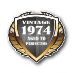 1974 Year Dated Vintage Shield Retro Vinyl Car Motorcycle Cafe Racer Helmet Car Sticker 100x90mm